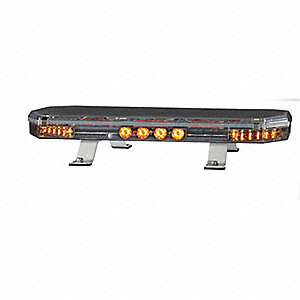 Amber Low Profile Mini Lightbar, LED Lamp Type, Permanent Mounting, Number of Heads: 6