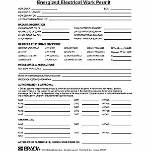 Brady work permit pk25 13k855 99287 grainger for Energized electrical work permit template