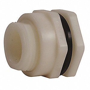 "Polypropylene Bulkhead Tank Fitting, 1/2"" Pipe Size, FNPT x FNPT Connection Type"