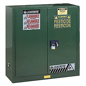 "Pesticide Safety Cabinet, Self-Closing Door Type, 30 gal. Capacity, 38-1/4"" Height, 43"" Width, 18"" D"