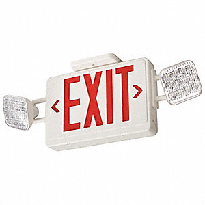 Exit Sign w/Emergency Lights,3.8W,Red