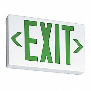 LED Exit Sign with Battery Backup, White Housing Color, Thermoplastic Housing Material