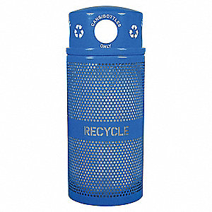 34 gal. Blue Stationary Recycling Container, Dome Top