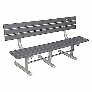 Outdoor Bench,96 in. L,Gry,RCYCLD PLSTC