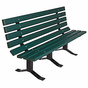 Outdoor Bench,96 in. L,Green,RCYCLD