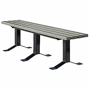 Outdoor Bench,72 in. L,Gray,PLSTC