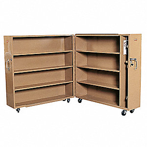 "Tan Jobsite Rolling Clam Shell Cabinet, Width: 60"", Depth: 15"", Height: 65, Storage Capacity: 60.9 c"
