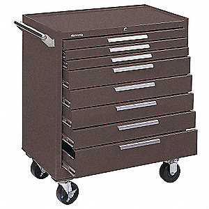 "Brown Rolling Cabinet, Industrial, Width: 34"", Depth: 20"", Height: 40"""