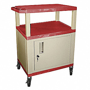 Audio-Visual Cart w/Electric, 300 lb. Load Capacity, Thermoplastic Resin Shelf Material