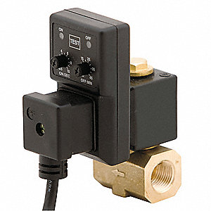 "Timed Electric Auto Drain Valve, 1/4"" NPT Pipe Size, 1/4"" Drain Size, 2.55 gpm Drain Rate"
