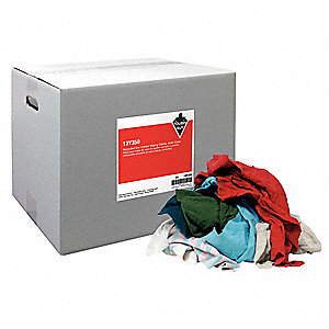 Assorted, Recycled Cotton T-shirt Cloth Rag, Size Varies, 25 lb. Package Size, 1 EA