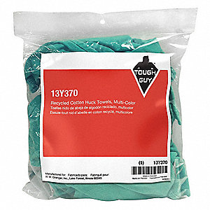 Assorted, Recycled Cotton Huck Towels Cloth Rag, Size Varies, 1 lb. Package Size, 1 EA