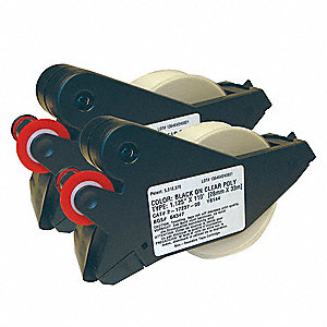 "Black/Clear Polyester Label Tape Cartridge, Indoor/Outdoor Label Type, 110 ft. Length, 1-1/8"" Width"