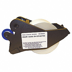 "Black/White Polyester Label Tape Cartridge, Indoor/Outdoor Label Type, 75 ft. Length, 2-1/4"" Width"
