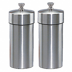 Pepper/Salt Mill,Stainless Steel,Silver