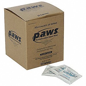 "Hand Wipe Towelettes, Application: Skin Cleaner, Size: 1"" x 2-1/2"", Foil Pack Package Type"
