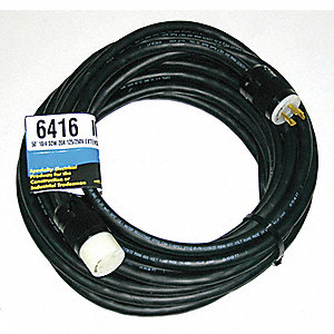 Indoor/Outdoor Extension Cord, 50 ft. Cord Length, 10/4 Gauge/Conductor, 20 Max. Amps