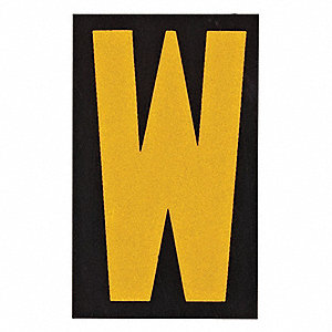 "Letter Label, W, Yellow On Black, 2-1/2"" Character Height, 25 PK"