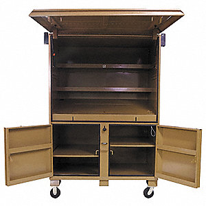 "Tan Jobsite Field Office, Width: 60"", Depth: 44"", Height: 82-1/2, Storage Capacity: 120.7 cu. ft."