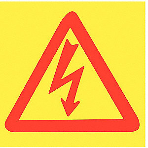 Caution Sign,Electrical,3x3,Red/Yellow