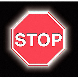 "Text Stop, High Intensity Prismatic Aluminum Stop Sign, Height 36"", Width 36"""