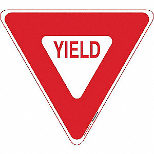 "Text and Symbol Yield, Engineer Grade Aluminum Traffic Sign, Height 22"", Width 22"""