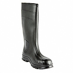 "15""H Men's Boots, Plain Toe Type, PVC Upper Material, Black, Size 14"