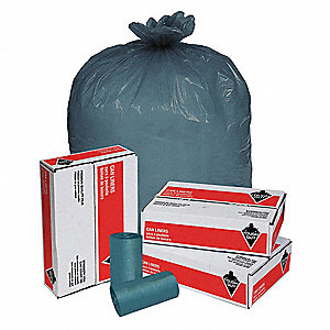 60 gal. Blue Trash Bags, Super Heavy Strength Rating, Coreless Roll, 100 PK