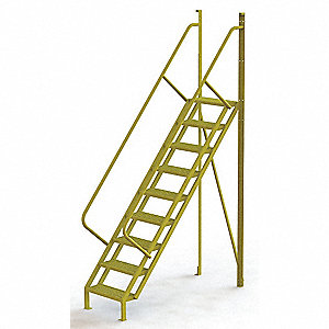 "Configurable Crossover Ladder, Steel, 90"" Platform Height, Number of Steps 9"