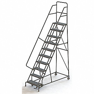 "Rolling Ladder, 136"" Overall Height, 450 lb. Load Capacity, Number of Steps 10"