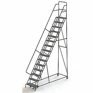 "Lockstep Rolling Ladder, 186"" Overall Height, 450 lb. Load Capacity, Number of Steps 15"