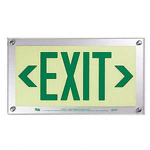 Exit Sign,9-11/32 x 16-3/4In,GRN/YLW,BD