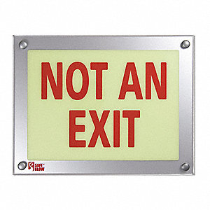 Not An Exit Sign,9-11/32X12-5/32In,Red