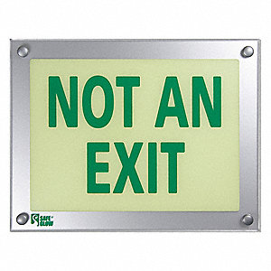 Not An Exit Sign,9-11/32X12-5/32In,Green