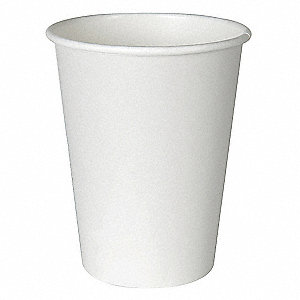 8 oz. Disposable Hot Cup, Paper, Polylined, White, PK 1000