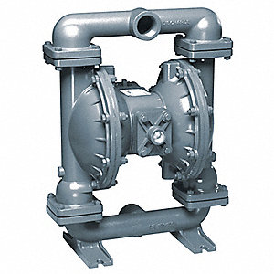 Stainless Steel PTFE - Santoprene Backup Single Double Diaphragm Pump, 106 gpm, 125 psi