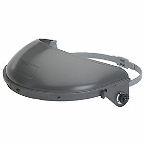 "Gray Faceshield Headgear, 4"" Crown Visor Height, Plastic Visor Material"