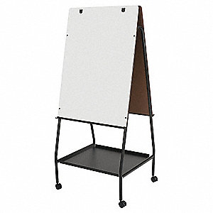 "Melamine Dry Erase Mobile Easel, Steel Frame Material, 59-1/2 to 65"" Overall Height"