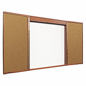 Combination Bulletin Board,Mahogany