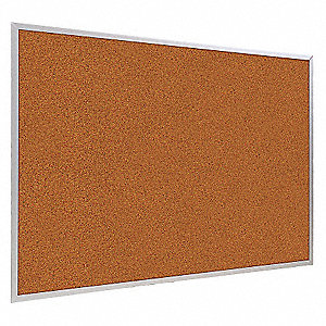 "Red Splash Cork Bulletin Board, Aluminum Frame Material, 96"" Width, 48"" Height"