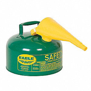 "Type I Safety Can,2 gal.,Green,9-1/2"" H"