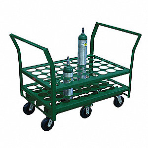 Welded Steel Medical Cylinder Cart, 2000 lb. Load Capacity, 2 Rigid, 4 Swivel Wheel Type