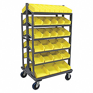 Mobile Sloped Bin Shelving, 2000 lb. Load Capacity, Total Number of Bins 58