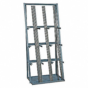 "Single Sided Vertical Bar Rack, 84"" Height, 36"" Width, 3000 lb. Load Capacity, Number of Shelves 3"