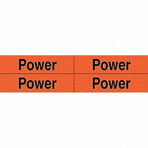 "Conduit and Voltage Markers, Markers per Card: 4, 4-1/2"" x 1-1/8"", Power Legend"