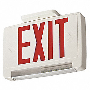 Exit Sign w/Emergency Lights,3W,Red