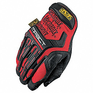 Anti-Vibration Gloves, Synthetic Leather/Poron Palm Material, Red, L, PR 1