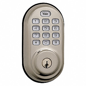 Electronic Keyless Deadbolt, Auxiliary with Key Override, Bright Brass, Series YRD210