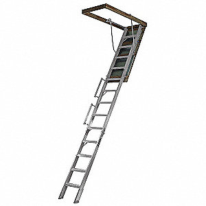 Attic Ladder, Aluminum, 350 lb. Load Capacity, 10 ft. to 12 ft. Ceiling Height Range