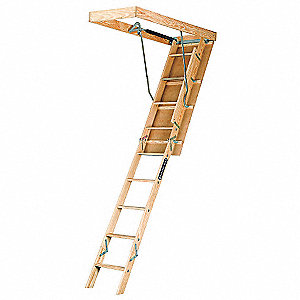 "Attic Ladder, Wood, 250 lb. Load Capacity, 8 ft. 9"" to 10 ft. Ceiling Height Range"